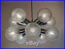 Vintage Chandelier Pendant Lamp Starburst Sputnik Glass Globe Mid-Century Modern