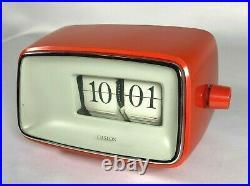 Vintage Copal Caslon Flip Clock Model 201 Red/Orange MCM Mid-Century Modern