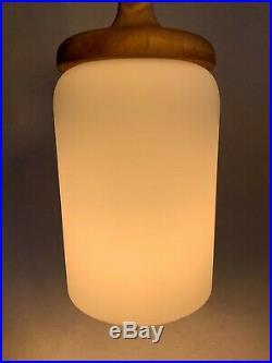 Vintage Danish Mid Century Modern Pendant Light Cased Glass Lamp Teak Walnut