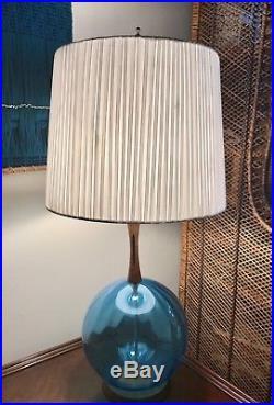 Vintage Danish Modern Azure Blue Blown Glass & Teak Mid-Century Table Lamp