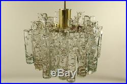 Vintage Doria Glass Tube Chandelier Pendant Lamp 1960's Mid Century Modern
