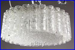 Vintage Doria Glass Tubes Chandlier Flushmount Mid Century 1960's