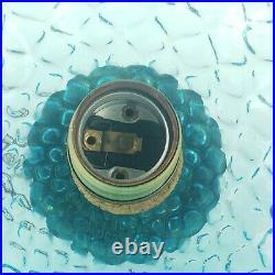 Vintage Empoli Glass Pendant Lamp Optic Mid Century Swag Italy Blue XL 12in