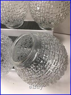 Vintage Flush Mount Ceiling Light Globe Shade Clear Glass Ball MidCentury Modern