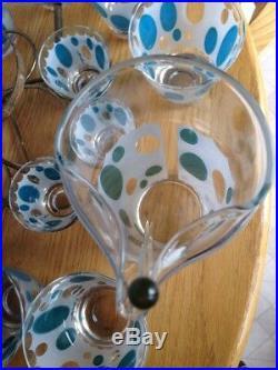 Vintage Fred Press Signed Mid Century Martini Cocktail Bar Set Pitcher Glasses