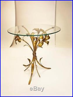 Vintage GOLD FLOWER END TABLE Hollywood Regency side glass mid century wheat 60s