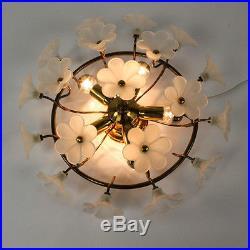 Vintage Glass Blossom Flush Mount Mid Century Chandelier Lamp