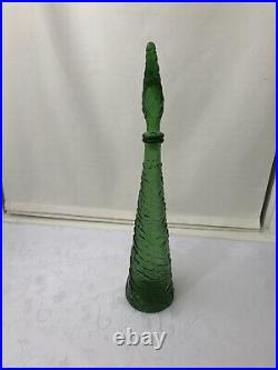 Vintage Glass Decanter Mid Century Italy 21 Tall Wine Genie Bottle Stopper Wave