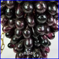 Vintage Glass Grapes Swag Shiny Purple Pendant Lamp Light Mid Century