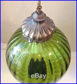 Vintage Green Glass Globe Hanging Chain Swag Lamp Mid Century Modern