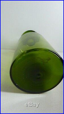 Vintage Green Glass Gulvase Vase Scandinavian Holmegaard MID Century