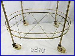 Vintage Hollywood Regency MID Century 2 Tier Brass Rolling Glass Bar Tea Cart