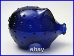 Vintage Holmegaard Cobalt Blue Glass Piggy Pig Bank Jacob Bang MID Century