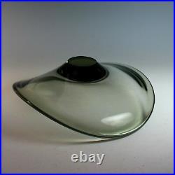 Vintage Holmegaard Signed Mid Century Modern Bowl, Smoke Glass 1962