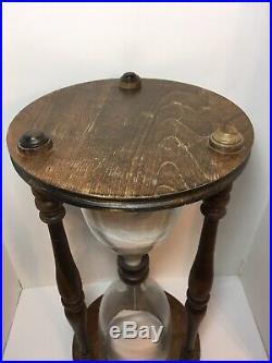 Vintage Hourglass Mid Century Modern Wood Glass Nautical Sand Timer 23.75