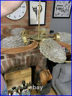 Vintage Huge Danish Mid Century Teak Brass Rocket Glass Shade 5 Arm Chandelier