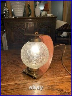 Vintage Italian Crackle Glass & Plywood Table Lamp, Mid Century Scandi, 1960s