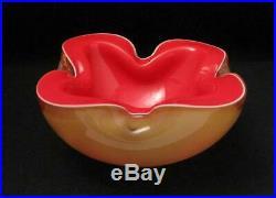 Vintage Italian Murano Glass Tripe Layer Cased Geode Art Bowl MID Century