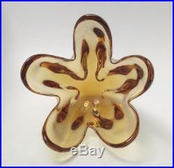 Vintage Italian Murano Glass Vase MID Century Eames Era Golden Amber Art