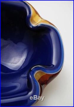 Vintage Italian Murano Quadruple Layer Cased Sommerso Geode Bowl MID Century