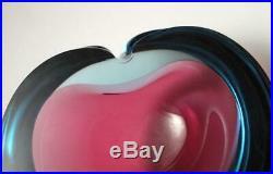 Vintage Italian Murano Uranium Glass Geode Bowl Cased Sommerso MID Century