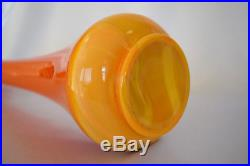 Vintage LE Smith Art Slag Glass Orange Mid Century Stretch Swung Floor Vase 25