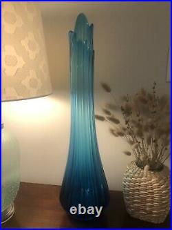 Vintage L. E. Smith Mid Century Modern Simplicity Large Blue Swung Vase 23