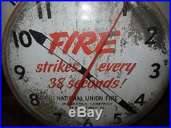 Vintage Large Bubble Glass Mid Century 1950s National Fire Insurance Clock (t)