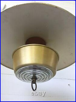 Vintage Lightolier Mid Century Modern Pull Down Ceiling Light Fixture Atomic Age