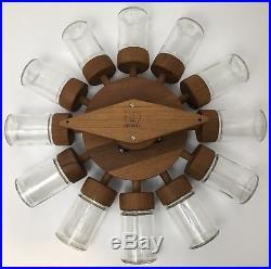 Vintage MCM Digsmed Spice Rack Rotating Wheel Danish Teak 12 Glass Mid Century