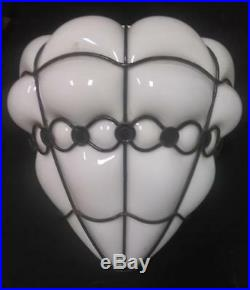 Vintage MCM Mid Century Modern Art Glass White Wrought Iron Lamp Shade Light