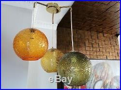 Vintage MCM Mid Century Modern Triple Pendant Swag Lamp 3 Colors Ball Shades Wow