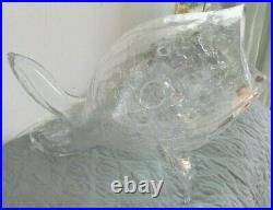 Vintage MID Century Modern Blenko Crackle Glass Fish Vase