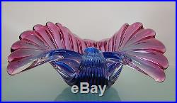 Vintage MID Century Murano A. Barbini Art Glass Shell Bowl Dish Blue Pink Purple