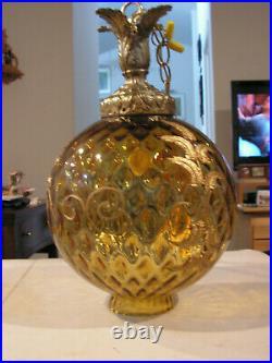 Vintage MID Century Swag Hanging Amber Round Glass Globe Light Lamp + Chain