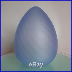 Vintage MID Century Vetri Murano Art Glass Swirled Blue Egg Table Lamp Modern