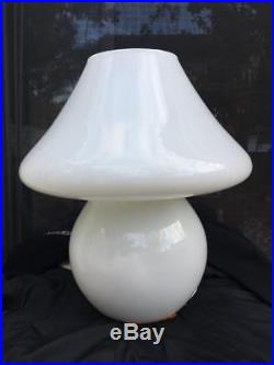 Vintage MID Century Vetri Murano Glass Mushroom Lamp Italy