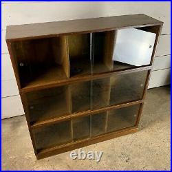 Vintage Mid Century 1950s 3 Tier Oak Bookcase with Sliding Glass Doors