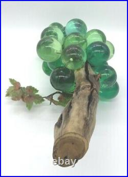 Vintage Mid Century 1960s Greeen Lucite Acrylic (Glass) Grapes Cluster Large