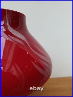 Vintage Mid Century 60s 70s Red Cased Glass Etched Mushroom Table Lamp Tabera