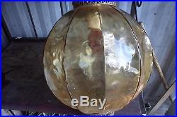 Vintage Mid Century AMBER Optic Art Glass Ball Shade Hanging Swag Lamp Light