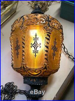 Vintage Mid Century Amber Glass Hanging Swag Lamp Light Gothic Regency Hollywood