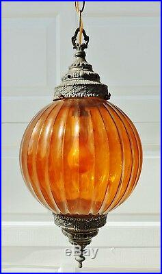 Vintage Mid Century Amber Glass Swag Chandelier Gothic Hanging Lamp Light #5376