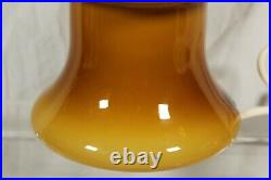 Vintage Mid-Century Amber Milk Glass Mushroom Table Lamp Blown 60s Light RARE