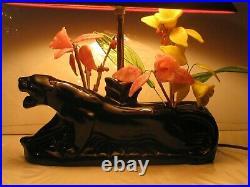Vintage Mid Century Art Deco Black Panther Ceramic TV LampPlanter Glass Flowers
