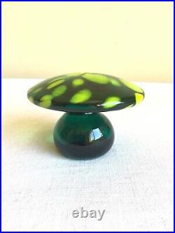 Vintage Mid Century Blenko Art Glass Green Yellow Mottled Mushroom Paperweight
