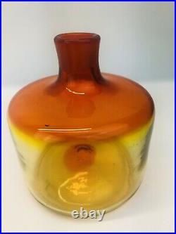 Vintage Mid Century Blenko Glass Bottle Decanter With Stopper Amberina Signed