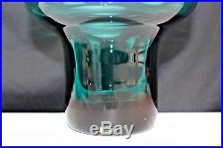 Vintage Mid Century Blenko Glass Bowl Vase #596 Aqua 1959