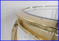 Vintage Mid Century Brass Glass Top Round Stand Metal Table Hollywood Regency