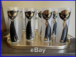 Vintage Mid Century Cat Frosted Libbey Drinking Glasses Cocktail Glasses